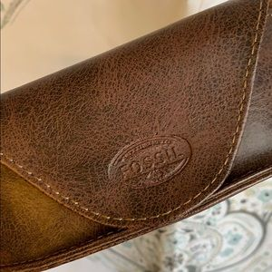 Fossil brown leather sunglasses case